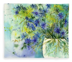 Cornflowers Symphony Fleece Blanket