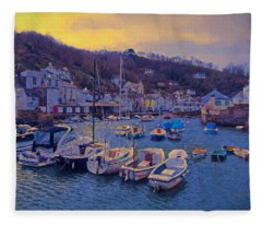 Fleece Blanket featuring the photograph Cornish Fishing Village by Paul Gulliver