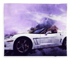 Corvette Convertible Pen And Watercolor Fleece Blanket