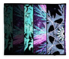 Fleece Blanket featuring the mixed media Cosmic Collage Mosaic Left Side by Shawn Dall