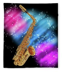 Cosmic Sax Fleece Blanket