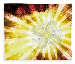Cosmic Solar Flower Fern Flare 2 Fleece Blanket