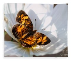 Pearl Crescent Butterfly On White Cosmo Flower Fleece Blanket