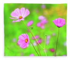 Cosmos Blooming In A Meadow Fleece Blanket