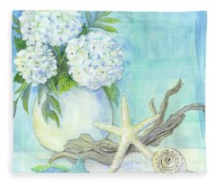 Cottage At The Shore 1 White Hydrangea Bouquet W Driftwood Starfish Sea Glass And Seashell Fleece Blanket