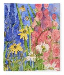 Cottage Garden Daisies And Blue Skies Fleece Blanket