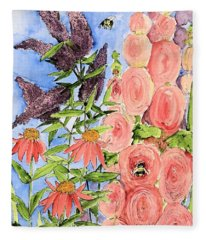 Cottage Garden Hollyhock Bees Blue Skie Fleece Blanket