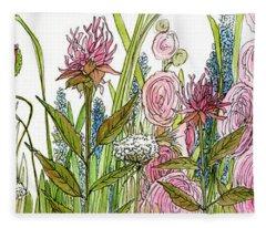 Cottage Hollyhock Garden Fleece Blanket