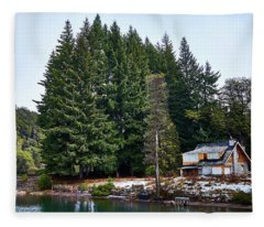 Little Cottage And Pines In The Argentine Patagonia Fleece Blanket