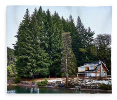 Little Cottage In The Argentine Patagonia Fleece Blanket