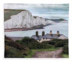 Cottages At Seven Sisters - England Fleece Blanket
