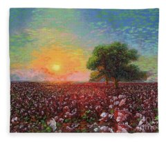 Cotton Field Sunset Fleece Blanket