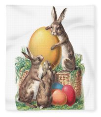Cottontails And Eggs Fleece Blanket