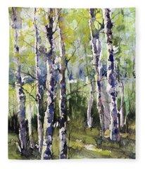 Cottonwoods And Sycamores Fleece Blanket