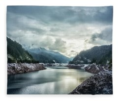 Cougar Reservoir On A Snowy Day Fleece Blanket