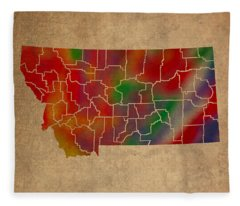 Counties Of Montana Colorful Vibrant Watercolor State Map On Old Canvas Fleece Blanket