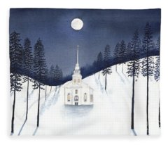 Country Church In Moonlight 2, Silent Night Fleece Blanket
