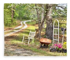 Country Driveway In Springtime Fleece Blanket