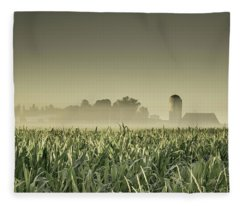 Country Farm Landscape Fleece Blanket