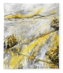 Country Glow - Yellow And Gray Modern Artwork Paintings Fleece Blanket