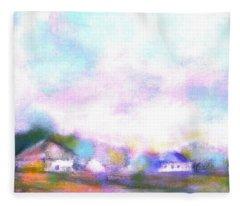 Country Landscape Sunrise Fleece Blanket