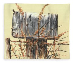 Country Mailbox In Colored Pencil Fleece Blanket