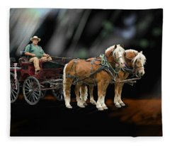 Country Road Horse And Wagon Fleece Blanket