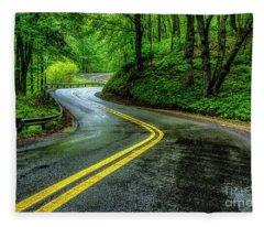 Country Road In Spring Rain Fleece Blanket