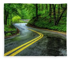 Country Road In Spring Rain Fleece Blanket