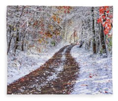 Country Road With Autumn Snow  Fleece Blanket