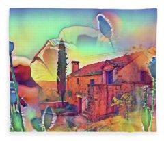 Country Villa Nestled In A Field Of Poppies Fleece Blanket