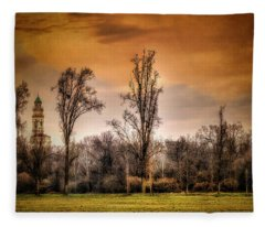 Countryscape With Bell Tower Fleece Blanket