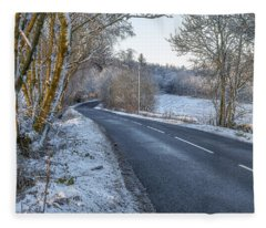 Countryside Road In Central Scotland Fleece Blanket