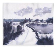 Countryside Winter Watercolor Fleece Blanket