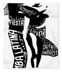 Couple Dancing Latin Music Fleece Blanket