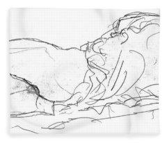 Couple In Bed Fleece Blanket