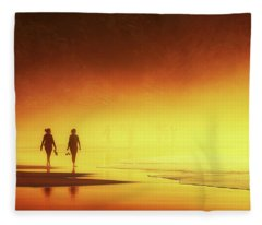 Couple Of Women Walking On Beach Fleece Blanket