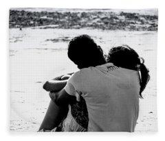Couple On Beach Fleece Blanket