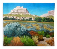 Courthouse And Jail Rocks 2 Fleece Blanket
