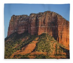 Courthouse Butte At Sunset Fleece Blanket