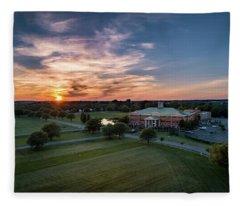 Courthouse Sunset Fleece Blanket