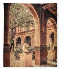 Paris, France - Courtyard West - L'ecole Des Beaux-arts Fleece Blanket