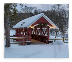 Covered Bridge In The Winter Fleece Blanket
