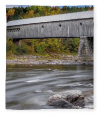 Covered Bridge In Vermont With Fall Foliage Fleece Blanket