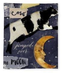 Cow Jumped Over The Moon Fleece Blanket