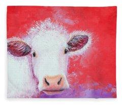Cow Painting - Charolais Fleece Blanket