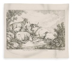 Cow With Sheep And Goats, Balthasar Anton Dunker, After Johann Heinrich Roos, 1769 - 1772 Fleece Blanket