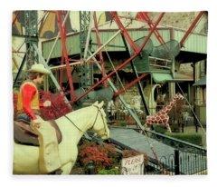 Cowboy And Giraffe Amusement Park Fleece Blanket