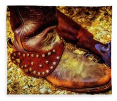 Cowboy Boot Wirth Spur And Shotgun Fleece Blanket