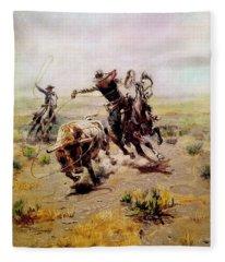 Cowboy Roping A Steer Fleece Blanket